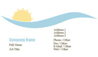 Setting Sun and Blue Water Business Card Template